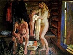 Старые моются в бане