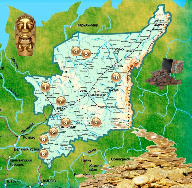 Карта кладов республики Коми - МДРегион.ру: http://www.mdregion.ru/o-kladoiskatelstve/26-o-kladah-v-rossii/1942-kart-kladov-respubliki-komi.html